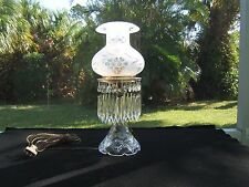 ANTIQUE ESTATE CRYSTAL LAMP ETCHED ROLL TOP SHADE PRISMS PULL CHAIN