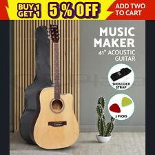 "ALPHA 41"" Inch Wooden Acoustic Guitar Classical Folk Full Size Dreadnought Bag"