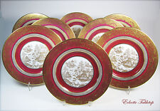"""Eight SPODE COPELANDS Gold and Burgundy Dinner / Service Plates 10.5""""  #Y4444"""