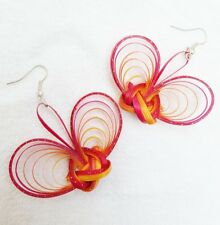 Thai Best Handmade Natural Feather Bamboo Earring Women Jewelry Accessory 1 Pair