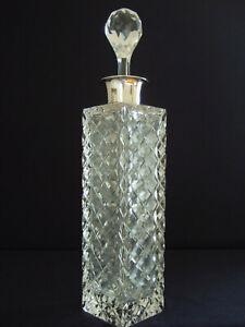 Bleikristall Karaffe mit Rautenschliff + 835er Silber-Montur WILHELM BINDER