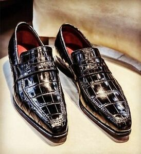 Handmade Men's Genuine Crocodile Print  Black Leather Loafer Moccasin Shoes