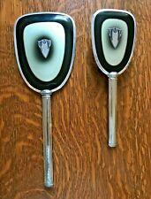 Antique Art Deco Vanity Set Hair Brush Mirror Silver Plated