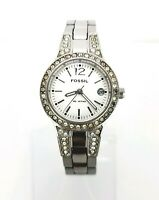Fossil Womans Watch AM4192 White Date Dial CZ Crystal Bezel Stainless Working