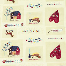 Cotton Fabric FQ Garden Home Rocking Wooden Horse Tea Pot Flower Heart Quilt K11