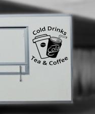 Cold Drinks Tea & Coffee, Catering Van Stickers fast food trailer, 53cm wide