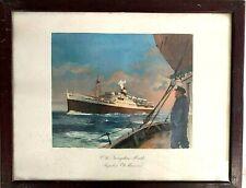 Cie de Navigation Mixte Portrait Paquebot El Mansour affiche Roger Chapelet 1950