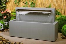 Brunnen aus verzinktem Edelstahl inkl Wasserfallklinge Wasser Spiel Garten Zier
