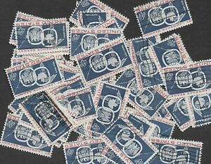Postage Stamps For Crafting: 1959 4c St. Lawrence Seaway; Blue/Red; 50 Copies