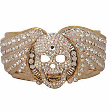 NEW KIRKS FOLLY BAD TO THE BONE SKULL CUFF BRACELET  GOLDTONE