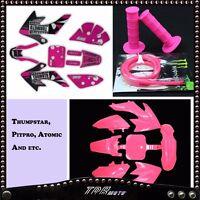 CRF50 PINK 3M GRAPHIC + PLASTICS + FUEL HOSE + HAND GRIPS DIRT/PIT BIKE ATOMIK
