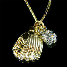 ~Baseball~ Softball Glove team Sport w Swarovski Crystal Gold P Pendant Necklace