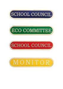 School Enamel Bar Badge, School Council, Monitor, Eco Committee, House Colours