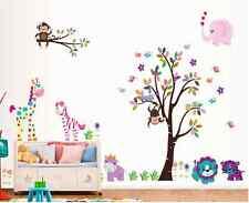 Animals Monkey Elephant Colourful Tree Wall Sticker