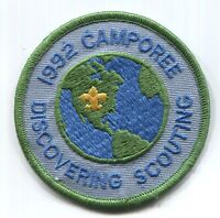 ⚜ BSA Scout Patch 1992 camporee 🌎 Discovering Scouting - round - New World -