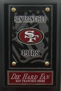 DIE HARD FAN SAN FRANCISCO 49ERS LOGO CARD PLAQUE FOR YOUR MAN CAVE WALL DECOR