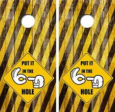 Put it in the Hole Sign Limited Edition Cornhole Board Skin Wrap FREE SQUEEGEE
