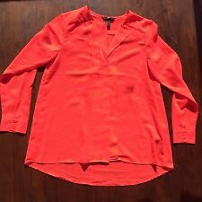 H&M HM Sheer Dark Pink Sz 2 Long Sleeve Blouse V Neck Lightweight Career Shirt