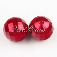 Lot 100Pcs 20mm Red Acrylic Pearl Disco Ball Beads Faceted Chunky Gumball Beads