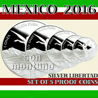 2016 MEXICO - SET OF 5 SILVER LIBERTAD PROOF COINS in Original Mint Capsules