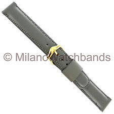 17mm Champion Gray Scandia Calf Padded Stitched Genuine Leather Watch Band