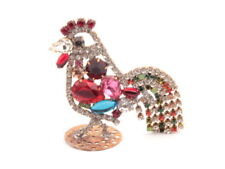 Handmade Czech glass rhinestone cockerel cock rooster Christmas ornament