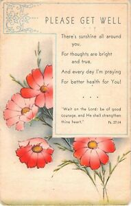 Pretty Pink Flowers on Old Religious Get Well Postcard With Bible Verse-Sunshine