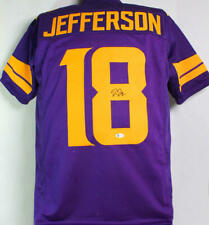 Justin Jefferson Signed Purple w/Gold Numbers Pro Style Jersey-Beckett W Auth *8
