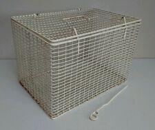 RETRO VINTAGE PLASTIC WIRE WHITE PET CARRIER 30 x 35 x 30CM A4 OFFICE STORAGE
