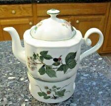 Vintage Seltmann Weiden Teapot w Matching Tea Light Stand - Black berry Pattern