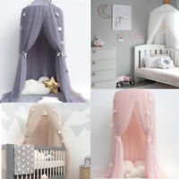 Kids Baby Bedcover Bed Canopy Mosquito Net Tent Yarn Curtain w/ Star Garlands