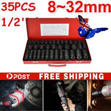 "35pcs 1/2""Drive Deep Impact Socket 8-32MM Tool Set Metric Garage Workshop Tools"