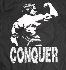 Arnold Schwarzenegger **CONQUER BODYBUILDER** WEIGHTS T-Shirt *MANY OPTIONS*
