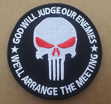PUNISHER RED EYE INFIDEL GOD WILL JUDGE ENEMY EMBROIDERED 3.5 INCH HOOK PATCH