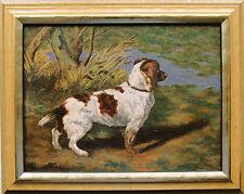 Cavalier King Charles épagneul, chef-Chien, peinture huile 24 x 32 cm de 1940