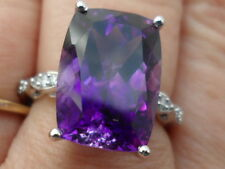 14k Moroccan Amethyst & Diamond White Gold Ring 7.73 WOW STUNNING ONE OF A KIND.