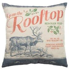 "Primitive Up On The Rooftop  20""x20"" Christmas Pillow"
