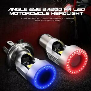 Motorcycle Scooter H4 LED Headlight Blue Angel Eyes Ring High Low Beam Bulb 25W