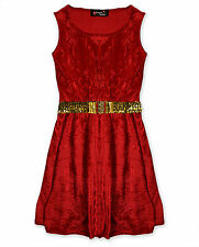 Girls Velour Skater Dress Kids Winter Party Christmas Dresses Age 5 - 13 Years