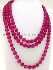 48 inches Natural 8mm Rose Red Ruby Round Gemstone Necklace AA