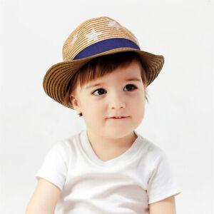 Kids Straw Jazz Hats Boys Fedora Cowboy Cap Stars Stetson Summer Beach Sun Hat