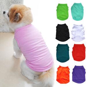 Cute Pet Dog Cat Plain Clothes T-Shirt Small Puppy Cotton Shirts Vest Costumes