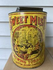LRG ANTIQUE LITHO ADVERTISING SWEET MIST TIN COUNTER TOBACCO CANISTER  EXC COLOR