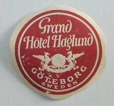 SWEDEN 2, Grand Hotel Haglund Göteborg + Gillet Stockholm; vintage luggage label