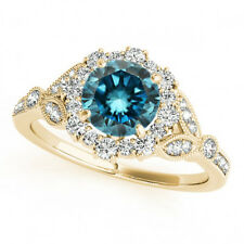 1.50 Carat Huge Blue And White Diamond Fancy Wedding Ring 14k Yellow Gold Trendy