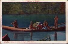 (xx3) Postcard: Brazil, Canoas de Indios, em viagem no Rio Parana