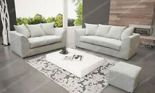 DYLAN CHICAGO  3 + 2 SEATER SOFA CREAM JUMBO CORD ALL OVER FREE FOOTSTOOL