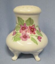ceramic 4 footed hat pin holder - white w/ violets - unknown maker