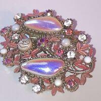 Vintage Costume Jewellery Rhinestone Pink Enamel Flower Silver Tone Brooch
