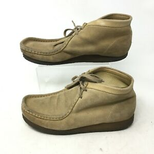 Clarks Wallabees Ankle Chukka Boots Booties Moc Toe Suede 35385 Tan Womens 8.5M